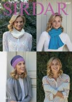 Sirdar No.1 Double Knit Crepe - 8047 Scarf, Slouchy Hat, Wrist Warmers & Snood Knitting Pattern